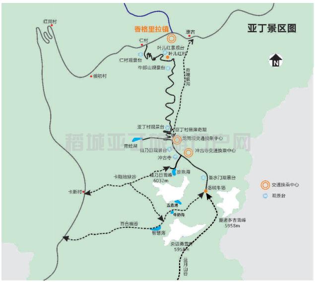 稻城亚丁景区内交通地图